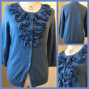Blue Ruffled Cardigan Sweater size L 🌹